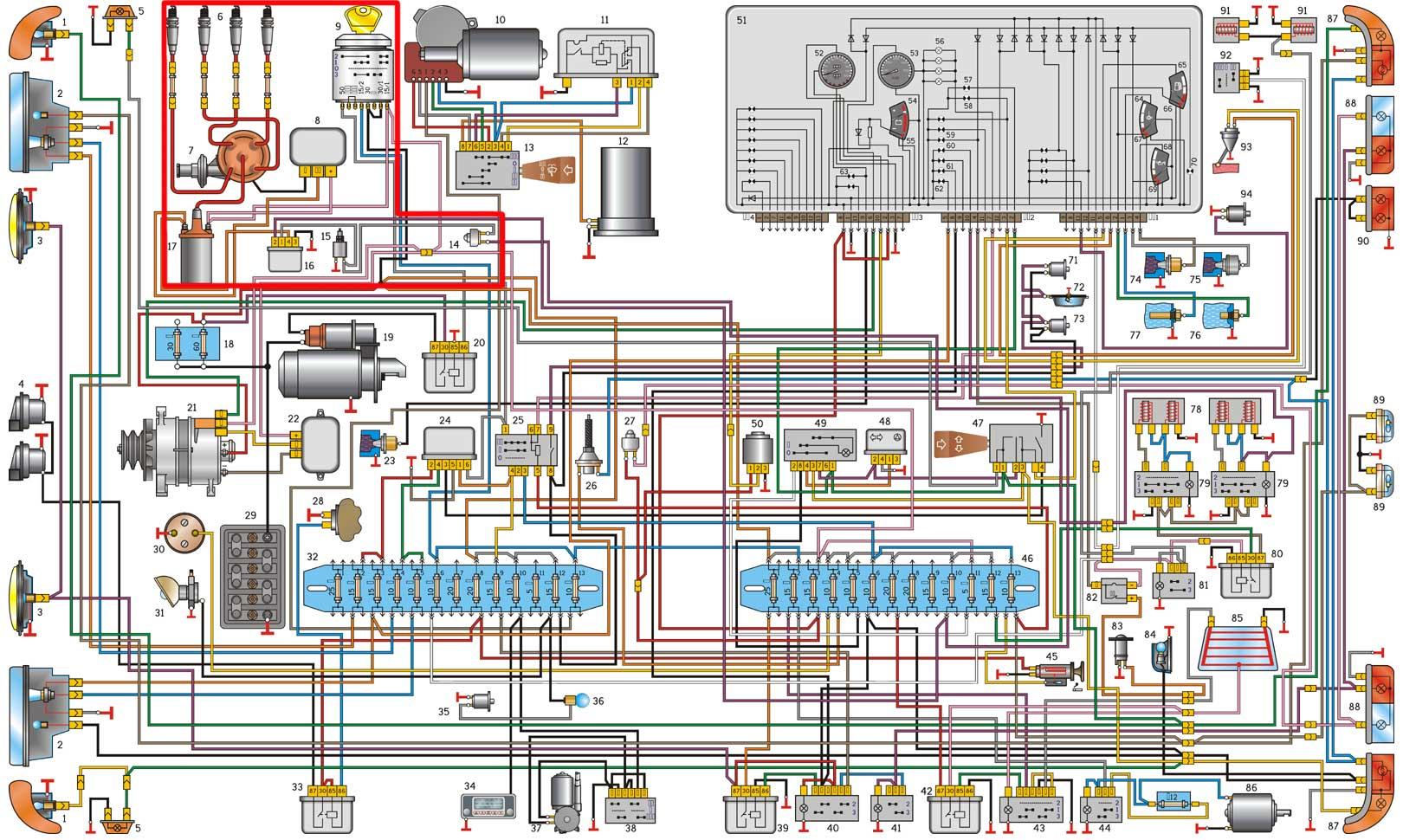 монтажная схема щитка приборов газ-24